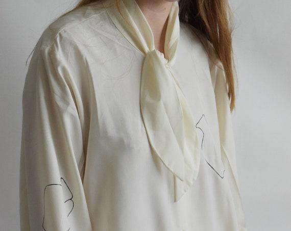 Daia Bow Tie Ivory Blouse