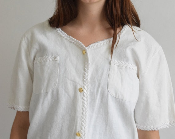 White Laurel Short Sleeve Blouse