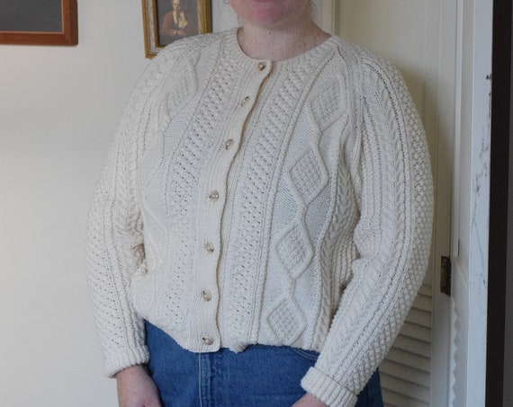 Hand Knit Cream Cardigan