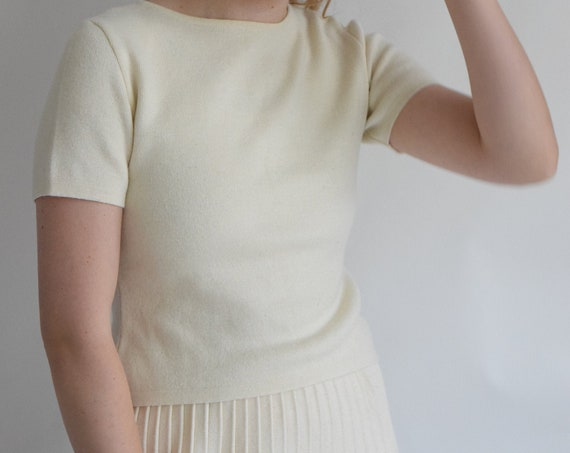 Cream Knit Zip Up Tee