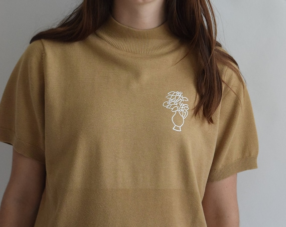 Laura Camel Mock Neck Tee