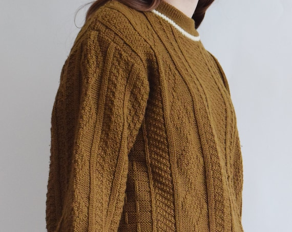 Chunky Brown Fishermans Wool Sweater