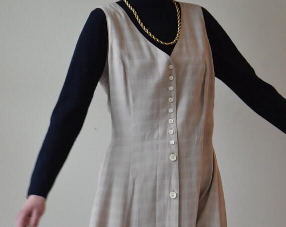 Tan Plaid Market Dress