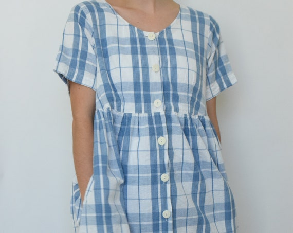 Blue Plaid Market Dress