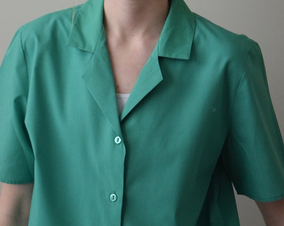 Kelly Green Cotton Blouse