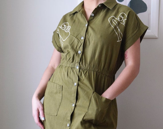 Leah Olive Linen Day Dress
