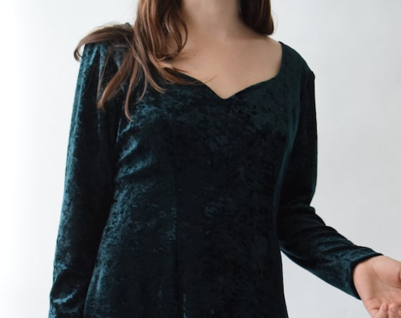 Emerald Velvet Long Sleeve Dress