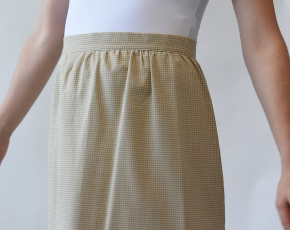 Tan & Cream Gingham Day Skirt