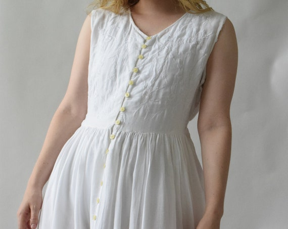 White Embroidered Night Dress