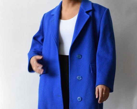 London Fog Royal Blue Wool Trench