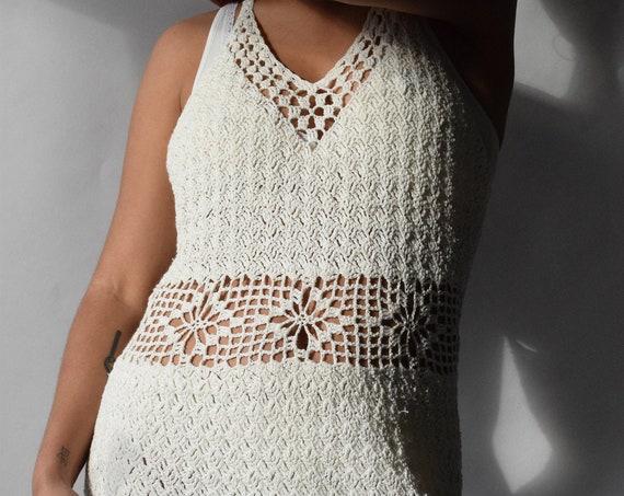 Cream Crochet Mini Dress