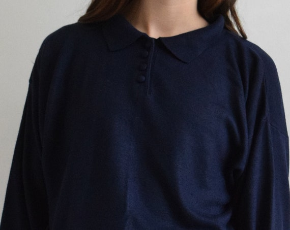 Navy Knit Polo Sweater