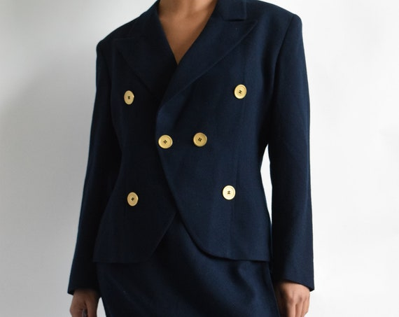 Christian Dior Navy Wool Suit Set