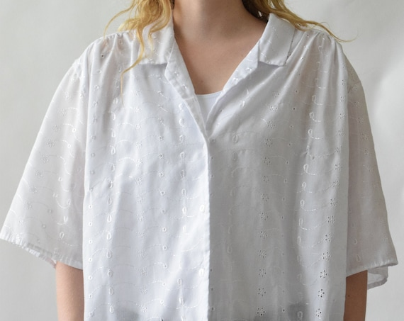 White Eyelet Button Up