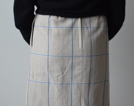 Oat & Blue Check Skirt