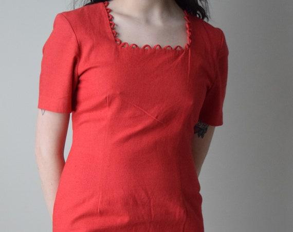 Red Linen Mini Dress