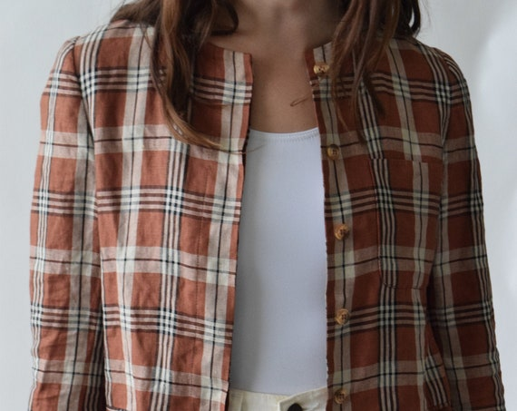 Clay Plaid Linen Long Sleeve Blouse