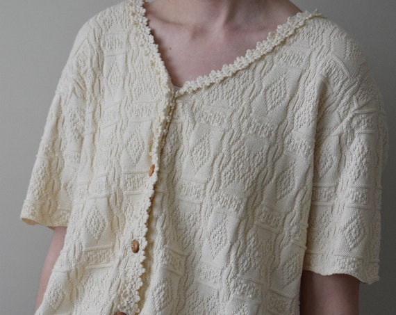 Cream Knit Button Up Tee