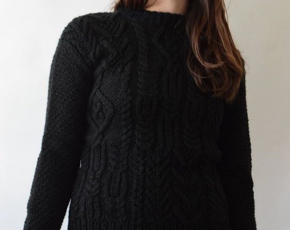 Black Wool Cable-knit Sweater