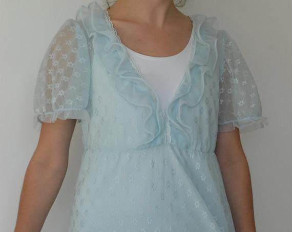 Wendy Bird Sheer Blue Puff Sleeve Dress