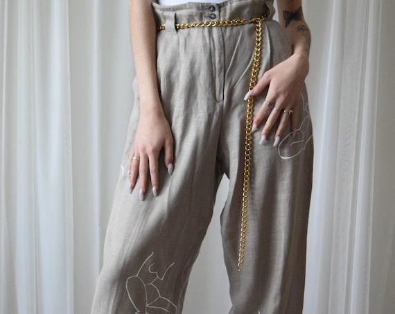 Moira Paper Bag Linen Trousers