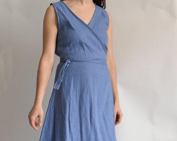 Linen Ladder Slate Blue Linen Wrap Dress