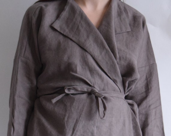 Linen Ladder Taupe Cropped Charlie Jacket