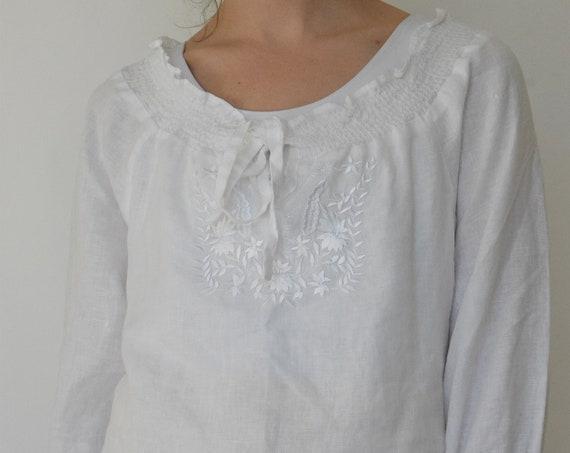 White Linen Prairie Blouse