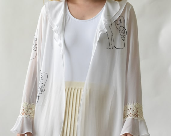 Leah Sheer White Ruffle Top