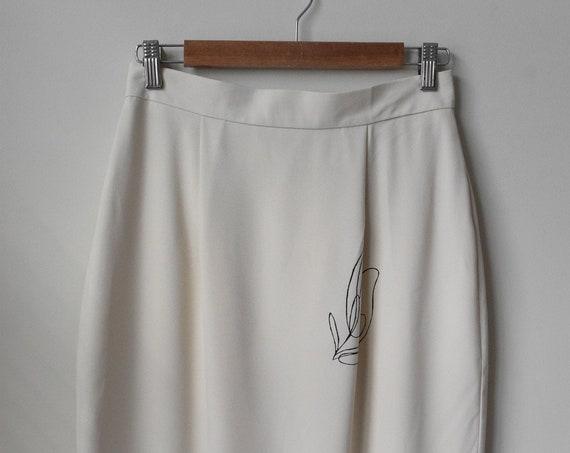 Lilja Cream Pencil Skirt