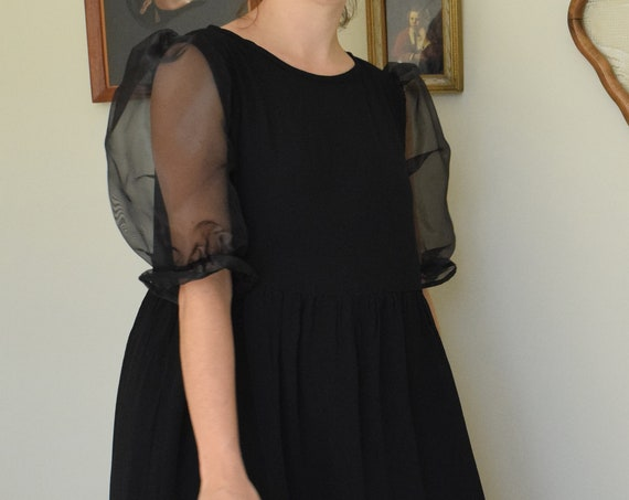 Bobbi Black Rayon Crepe & Organza Puff Dress