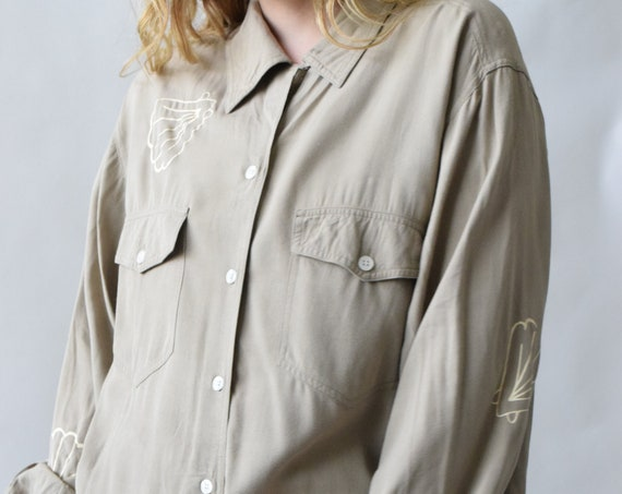 Aria Tan Long Sleeve Button-Up Shirt