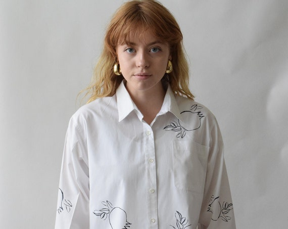 Clementine White Cotton Button Down