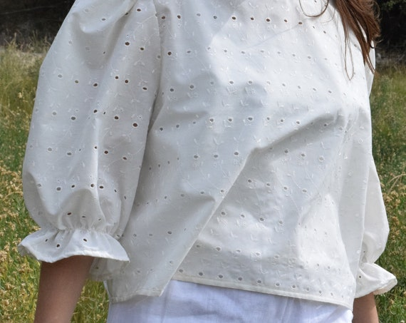 Bobbi Eyelet Lace Puff Sleeve Tee