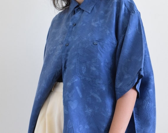 Blue Block Print Silk Shirt