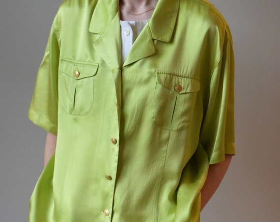 Key Lime Silk Blouse