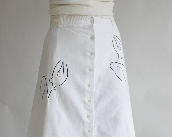 White Meridian Woman Linen A-Line Skirt