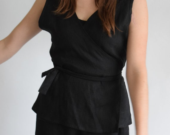 Linen Ladder Trish Black Sleeveless Wrap Top