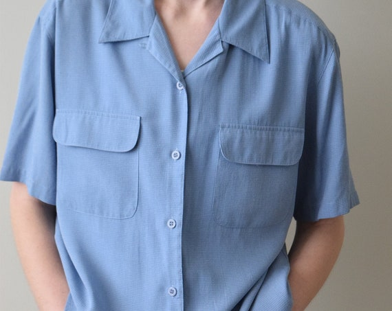 Cornflower Blue Short Sleeve Blouse