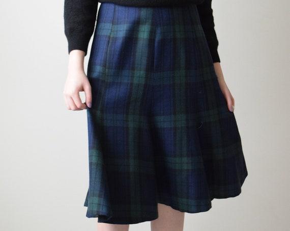 Navy & Green Plaid Skirt
