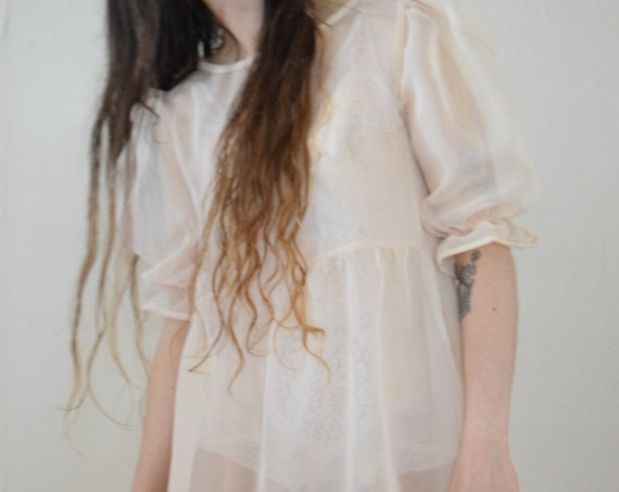 Bobbi Sheer Floral Puff Sleeve Dress