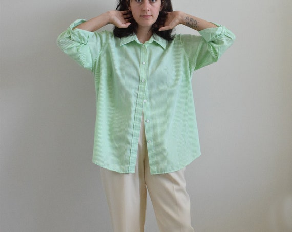 Lime Pinstripe Button Down