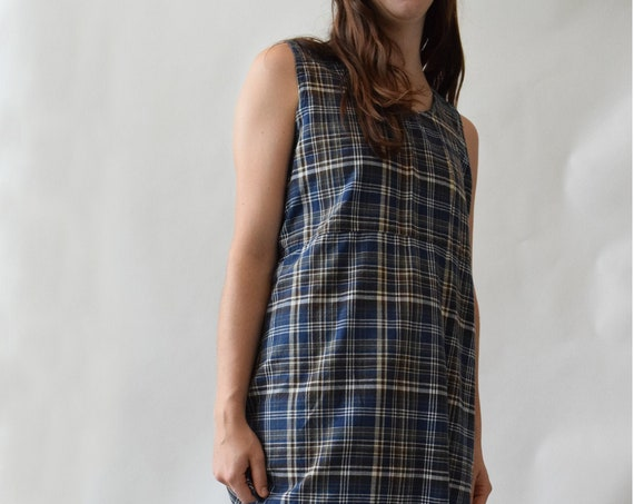 Brown and Blue Plaid Shift Dress