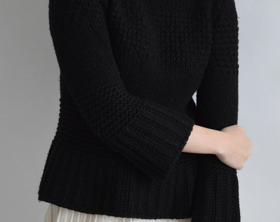 Black Wool Peplum Sweater