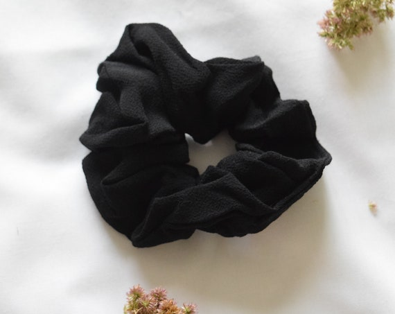 Black Rayon Crepe Hair Scrunchie