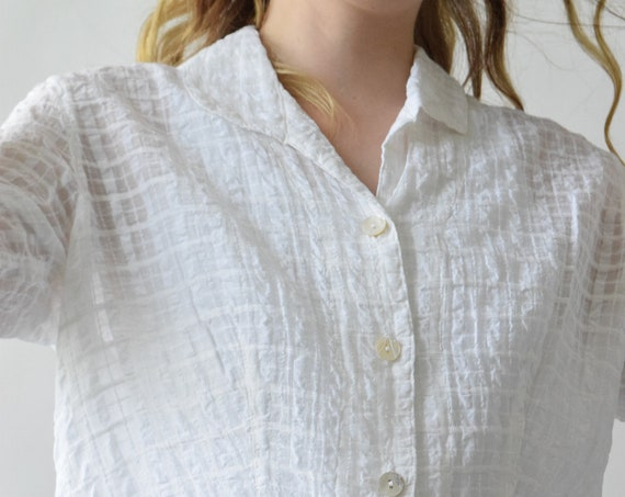 Sheer White Plaid Long Sleeve Button Down