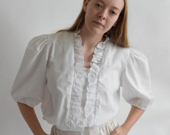 White Cotton Poplin & Lace Puff Sleeve