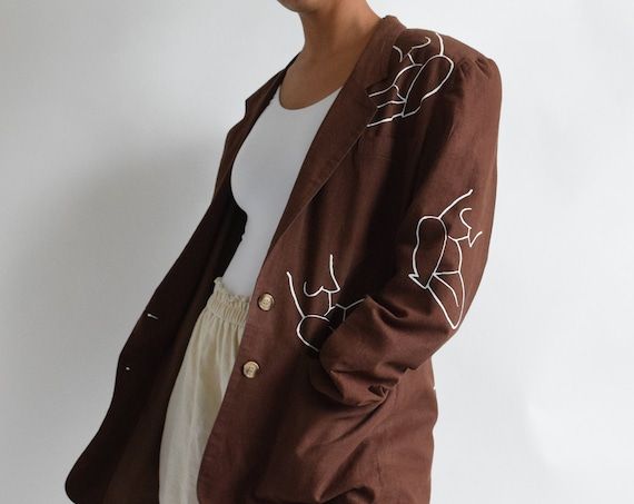 Moira Chocolate Brown Linen Blazer