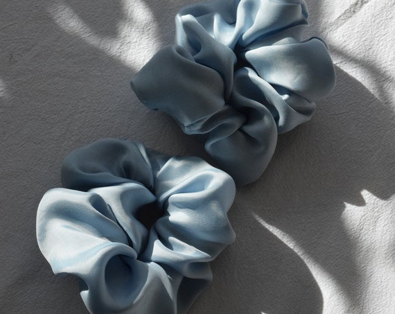 Morning Blue Cupro Scrunchies