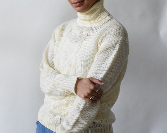 Cream Crochet Turtleneck Sweater